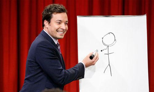 Jimmy Fallon drawing a stick figure